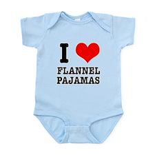I Heart (Love) Flannel Pajama Infant Bodysuit