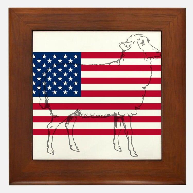 USA Sheep Framed Tile
