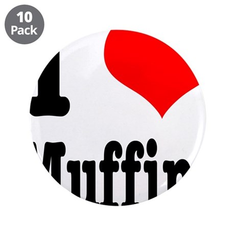 """I Heart (Love) Muffins 3.5"""" Button (10 pack)"""