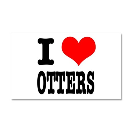 I Heart (Love) Otters Car Magnet 20 x 12