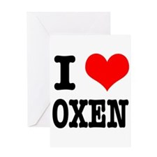 I Heart (Love) Oxen Greeting Card