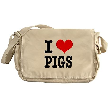 I Heart (Love) Pigs Messenger Bag