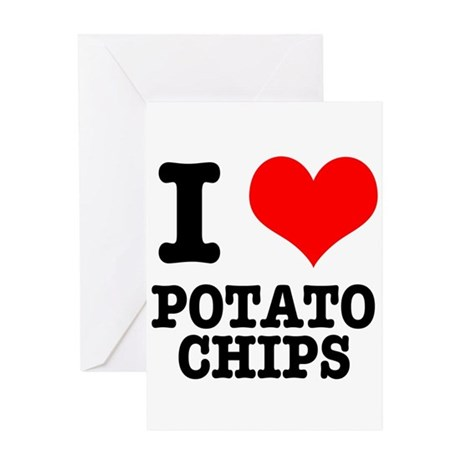 I Heart (Love) Potato Chips Greeting Card