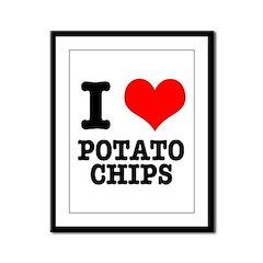 I Heart (Love) Potato Chips Framed Panel Print