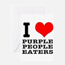 I Heart (Love) Purple People Greeting Card