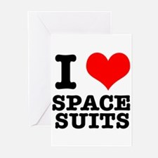 I Heart (Love) Space Suits Greeting Cards (Pk of 2