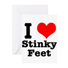I Heart (Love) Stinky Feet Greeting Cards (Pk of 2