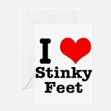 I Heart (Love) Stinky Feet Greeting Card