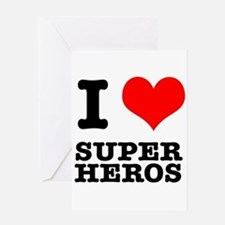 I Heart (Love) Super Heros Greeting Card
