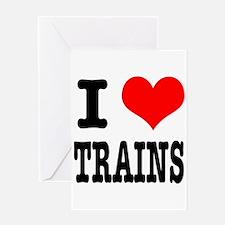 I Heart (Love) Trains Greeting Card