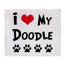 I Love My Doodle Throw Blanket