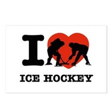 I love Ice Hockey Postcards (Package of 8)
