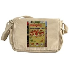 Happy Pizza Sign Messenger Bag