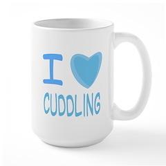 Blue I Heart (Love) Cuddling Mug