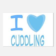 Blue I Heart (Love) Cuddling Postcards (Package of