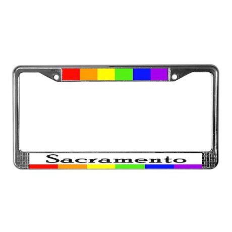 Sacramento rainbow bar pride License Plate Frame