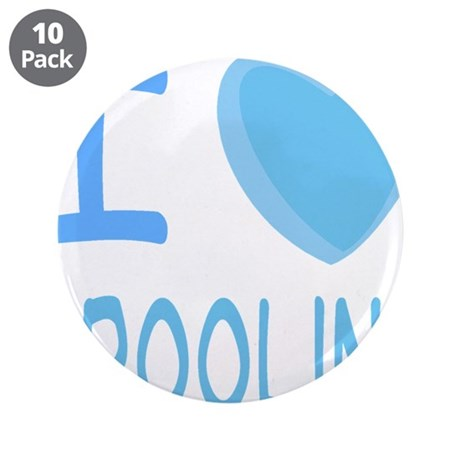 """Blue I Heart (Love) Drooling 3.5"""" Button (10"""