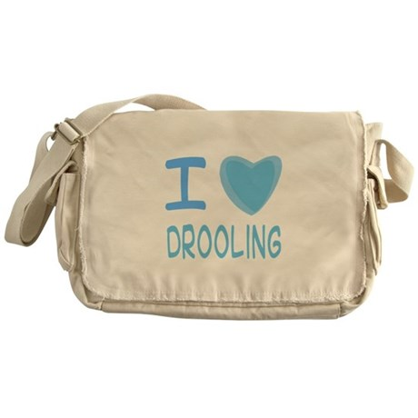 Blue I Heart (Love) Drooling Messenger Bag