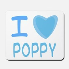 Blue I Heart (Love) Poppy Mousepad