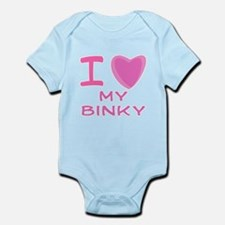 Pink I Heart (Love) My Binky Infant Bodysuit