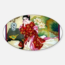 Cute Japanese geisha Sticker (Oval)