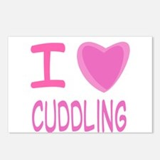 Pink I Heart (Love) Cuddling Postcards (Package of