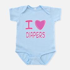 Pink I Heart (Love) Diaper Infant Bodysuit
