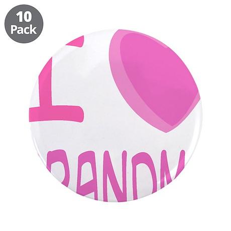 "Pink I Heart (Love) Grandma 3.5"" Button (10 p"