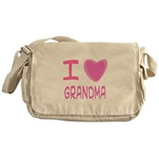 Pink I Heart (Love) Grandma Messenger Bag
