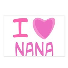 Pink I Heart (Love) Nana Postcards (Package of 8)