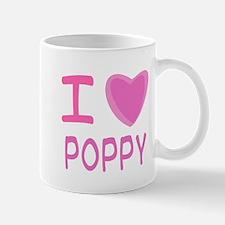Pink I Heart (Love) Poppy Mug