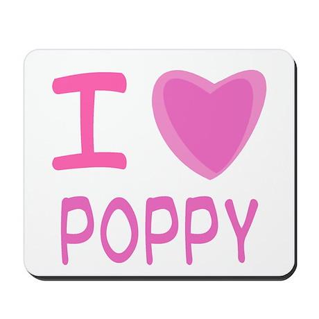 Pink I Heart (Love) Poppy Mousepad