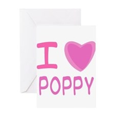 Pink I Heart (Love) Poppy Greeting Card