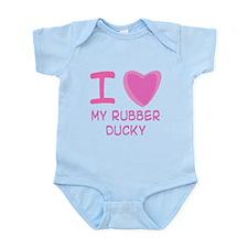 Pink I Heart (Love) My Rubber Infant Bodysuit
