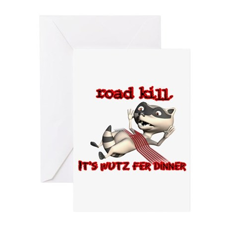 Racoon Road Kill for Dinner Greeting Cards (Pk of