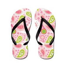 Pink and Green Paisley Breast Cancer Flip Flops