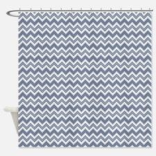Shades of Blue Chevron Stripes Shower Curtain