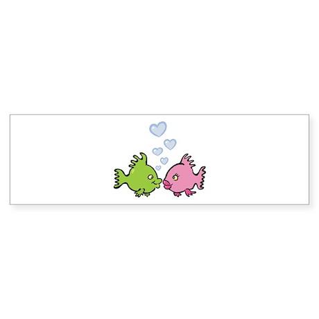 Kissy Love Fish Valentine Sticker (Bumper)
