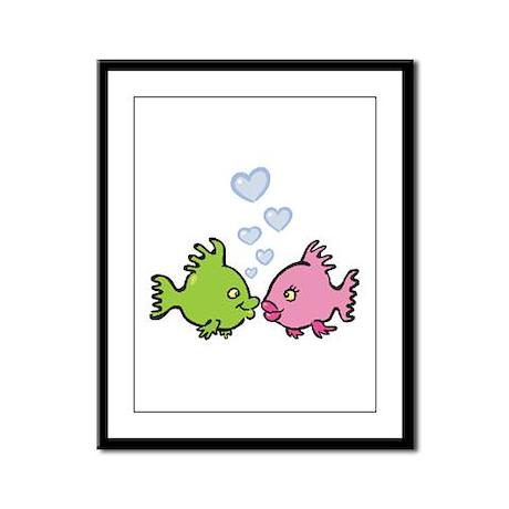 Kissy Love Fish Valentine Framed Panel Print