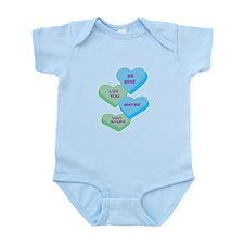 Cute Valentine Candy Hearts D Infant Bodysuit