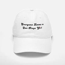 Loves San Diego Girl Baseball Baseball Cap