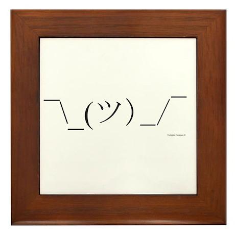 Shrug Emoticon Framed Tile