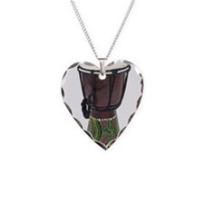 Tall_Djembe_Drum Necklace Heart Charm