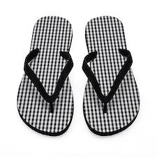 Black Plaid Gingham Flip Flops