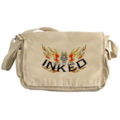 Inked Flaming Skull Messenger Bag