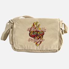 I Love My Firefighter Messenger Bag