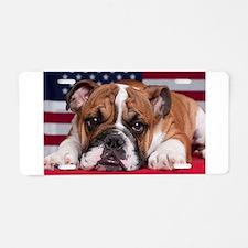 Patriotic Bulldog Aluminum License Plate