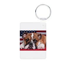 Patriotic Bulldog Keychains