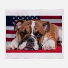 Patriotic Bulldog Throw Blanket