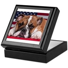 Patriotic Bulldog Keepsake Box